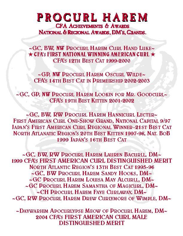 Procurl Harem CFA Achievements and Awards National and Regional Awards, DM's, Grands